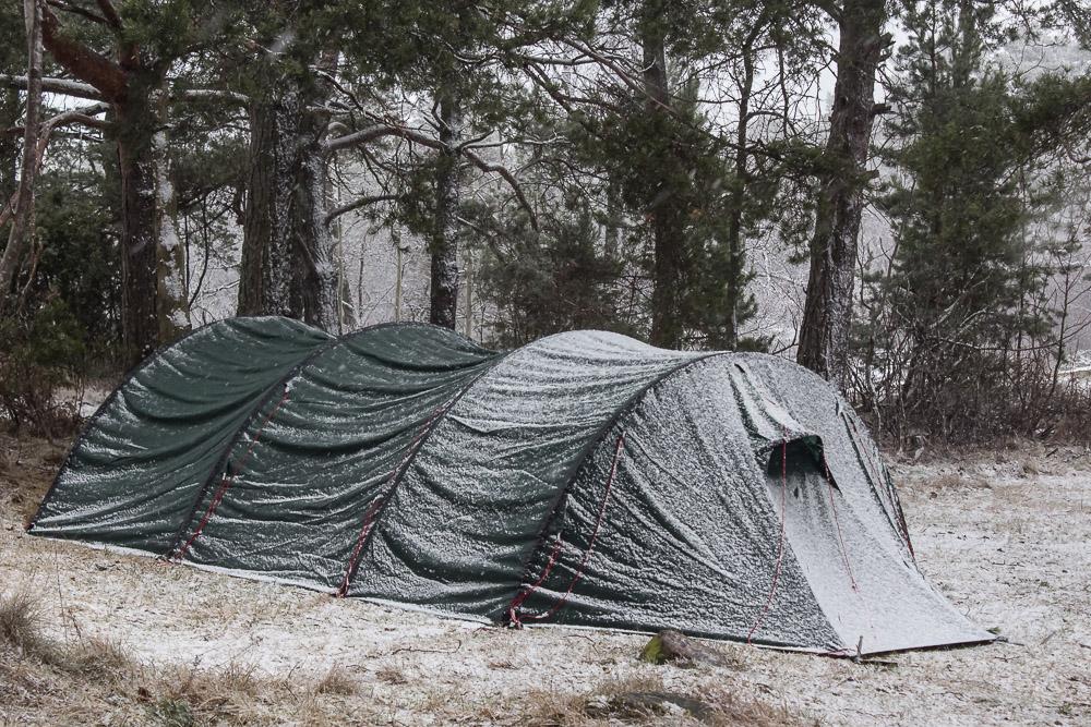 Tadaa! Teltta näytti aamulla tältä.